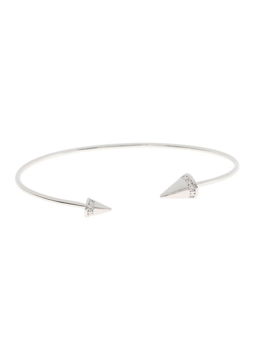 Handset high quality CZ accented Spike Bangle, White Gold finish