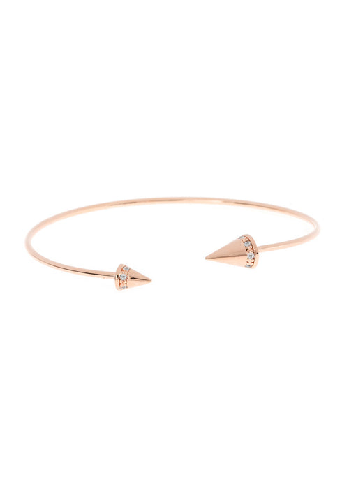 Handset high quality CZ accented Spike Bangle, Rose Gold finish
