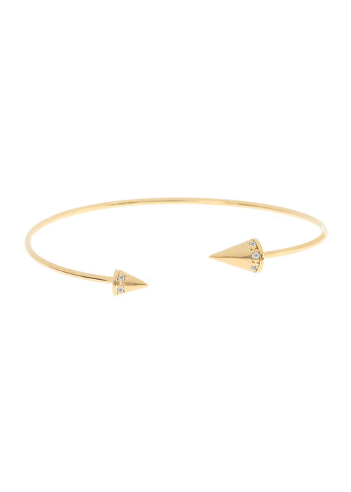 Handset high quality CZ accented Spike Bangle, Gold finish