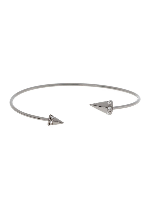 Handset high quality CZ accented Spike Bangle, Gun metal finish