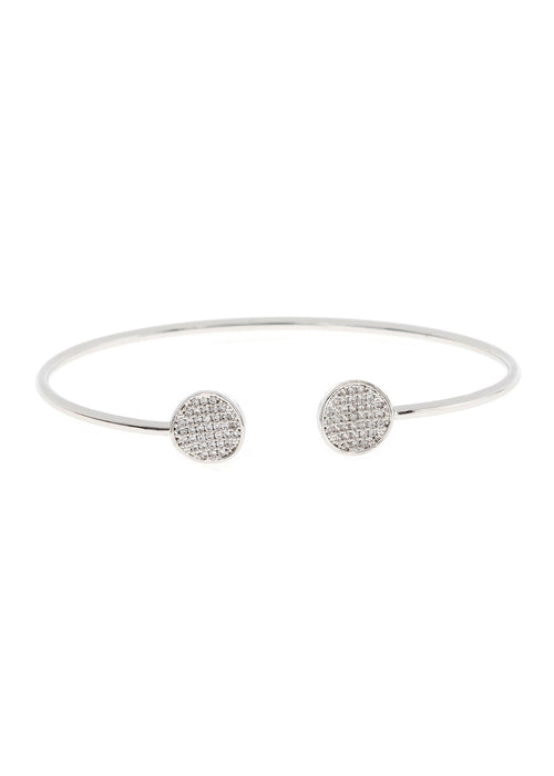 Inverted two disc accented flexible bangle in hand set micro pave high quality CZ, White gold finish