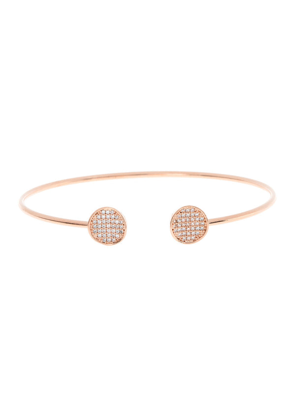 Inverted two disc accented flexible bangle in hand set micro pave high quality CZ, Rose gold finish