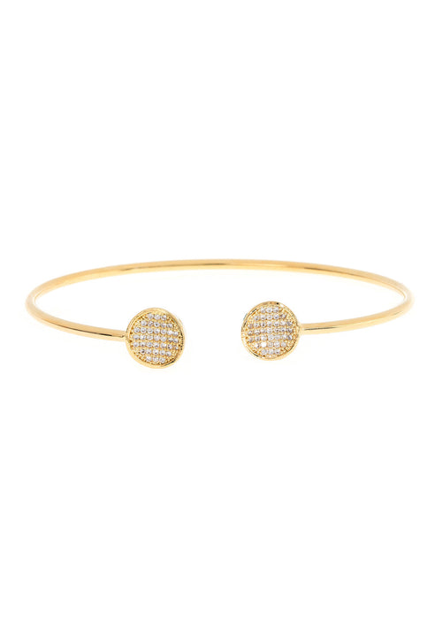 Inverted two disc accented flexible bangle in hand set micro pave high quality CZ, Gold finish