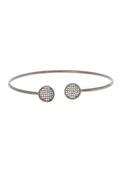 Inverted two disc accented flexible bangle in hand set micro pave high quality CZ, Gun metal finish