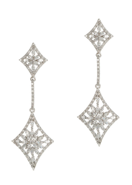 Double diamond drop earrings with hand set micro pave high quality CZ, White gold finish
