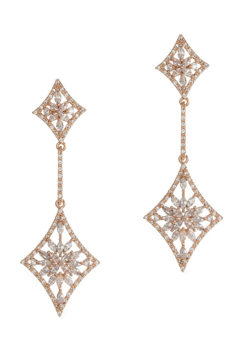 Double diamond drop earrings with hand set micro pave high quality CZ, Rose gold finish