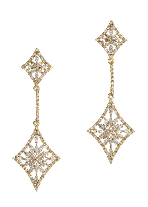 Double diamond drop earrings with hand set micro pave high quality CZ, Gold finish