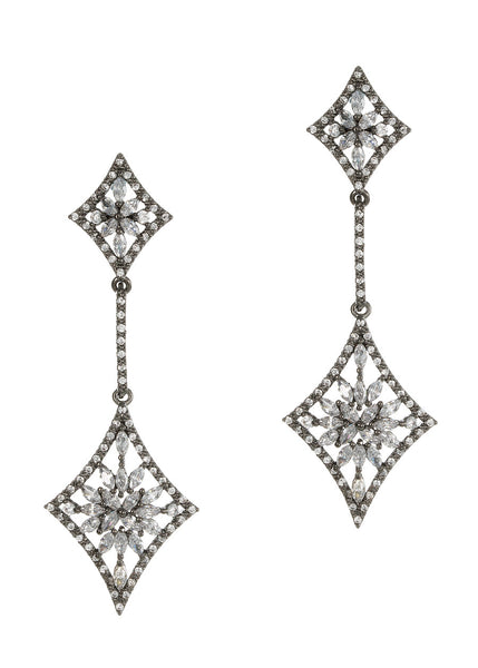 Double diamond drop earrings with hand set micro pave high quality CZ, Gun metal finish