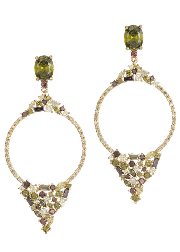 Selene (The Goddess of Moon) earrings with hand set high quality CZ, Peridot multi, Gold finish