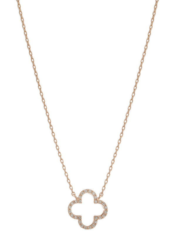 Open Clover pendant necklace, individually hand set high quality CZ, Rose gold finish