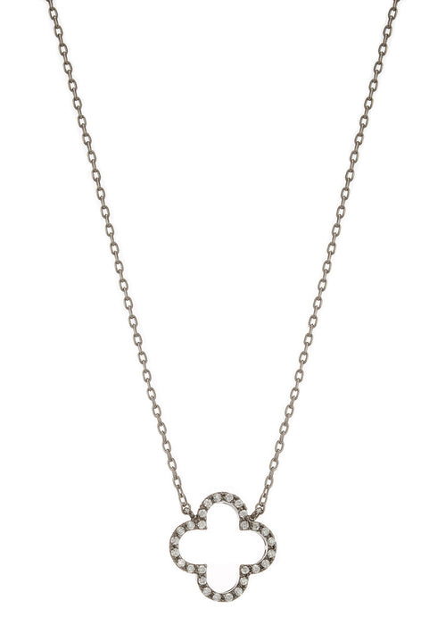 Open Clover pendant necklace, individually hand set high quality CZ, Gunmetal finish