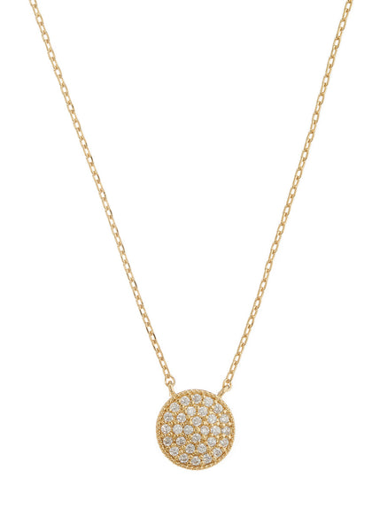 Flat Disc short necklace with hand set high quality CZ, Gold finish