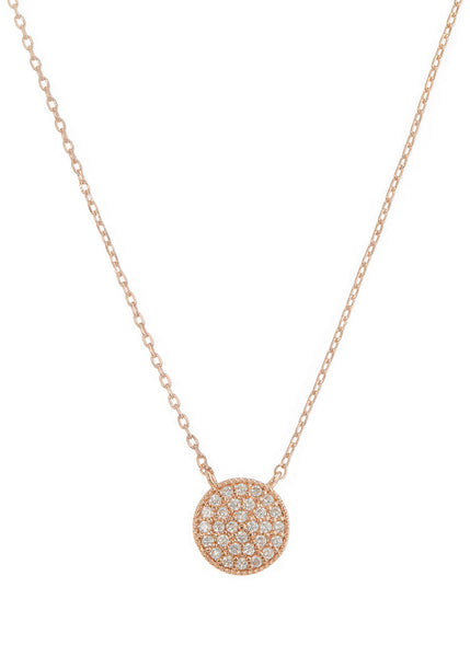 Flat Disc short necklace with hand set high quality CZ, Rose Gold finish