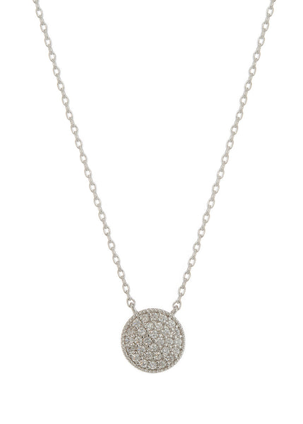 Flat Disc short necklace with hand set high quality CZ, White gold finish