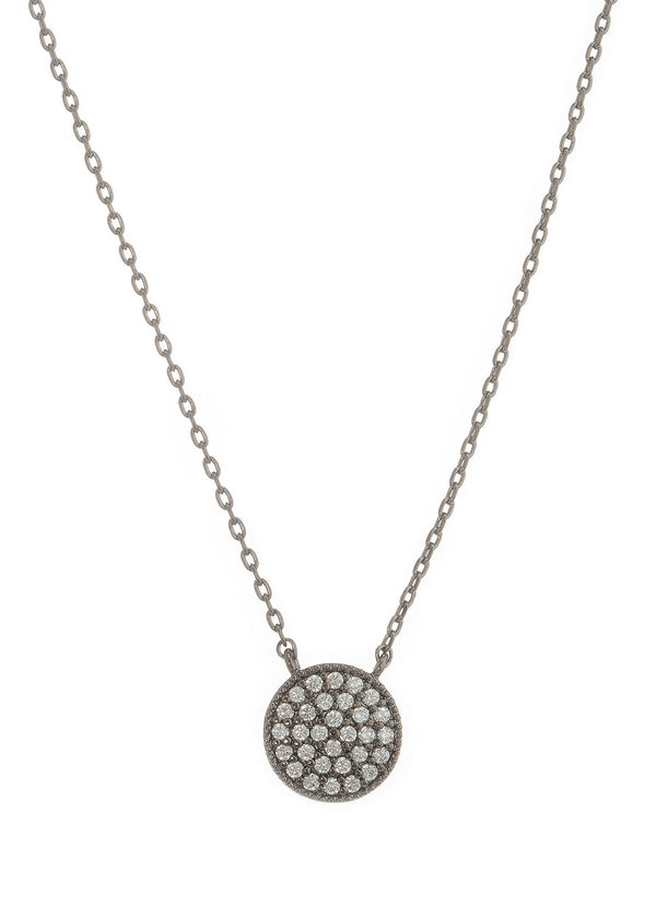 Flat Disc short necklace with hand set high quality CZ, Gunmetal finish