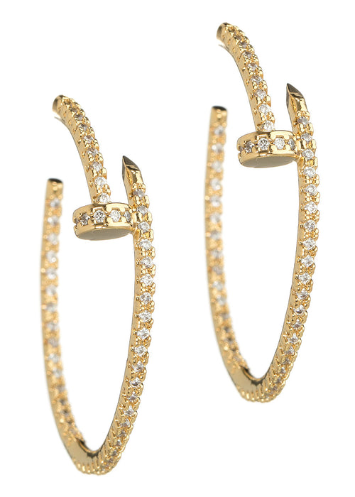 Inside out high quality hand set CZ nail hoop earrings, Gold finish