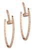 Inside out high quality hand set CZ nail hoop earrings, Rose Gold finish