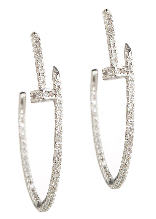 Inside out high quality hand set CZ nail hoop earrings, White Gold finish