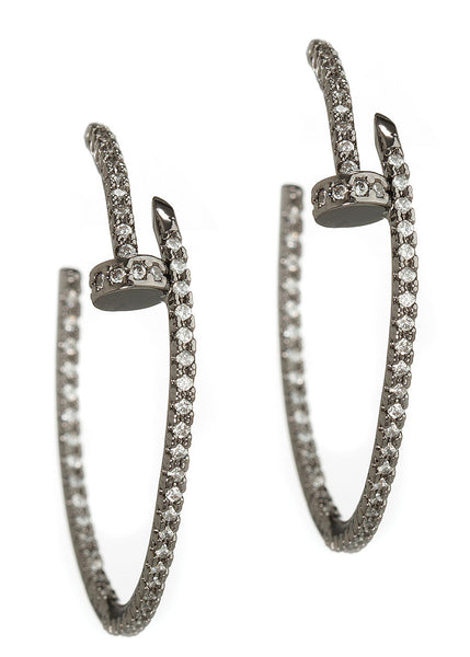 Inside out high quality hand set CZ nail hoop earrings, Gun metal finish