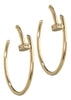 High quality hand set CZ accented nail hoop earrings, Gold finish