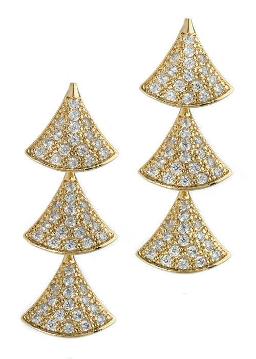 Tre hand set high quality CZ triple tier drop earrings, Gold finish