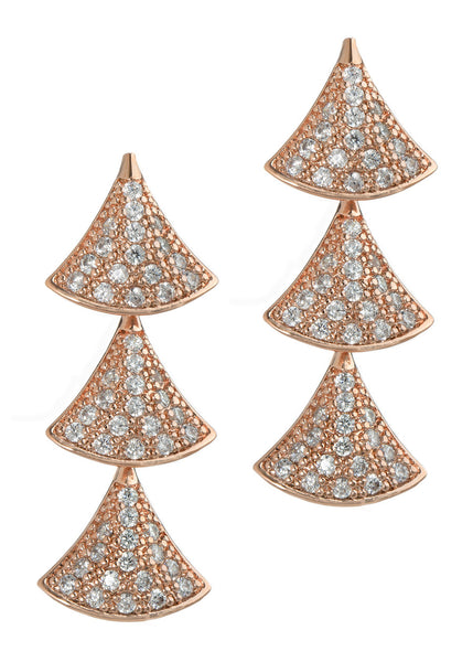Tre hand set high quality CZ triple tier drop earrings, Rose Gold finish