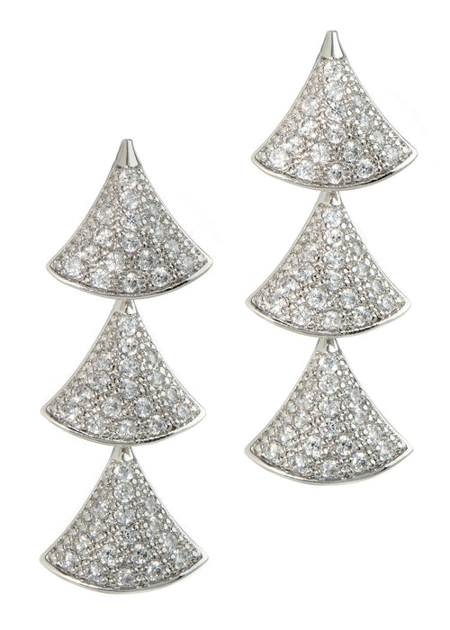 Tre hand set high quality CZ triple tier drop earrings, White Gold finish