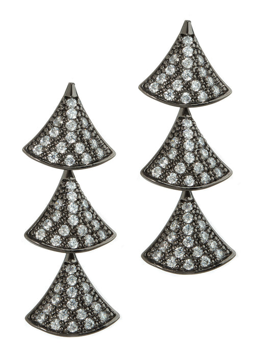 Tre hand set high quality CZ triple tier drop earrings, Gun metal finish