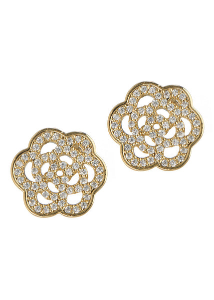 Camellia stud earrings in hand set high quality CZ, Gold finish