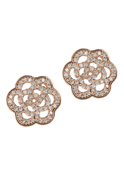 Camellia stud earrings in hand set high quality CZ, Rose Gold finish