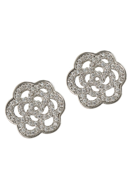 Camellia stud earrings in hand set high quality CZ, White Gold finish
