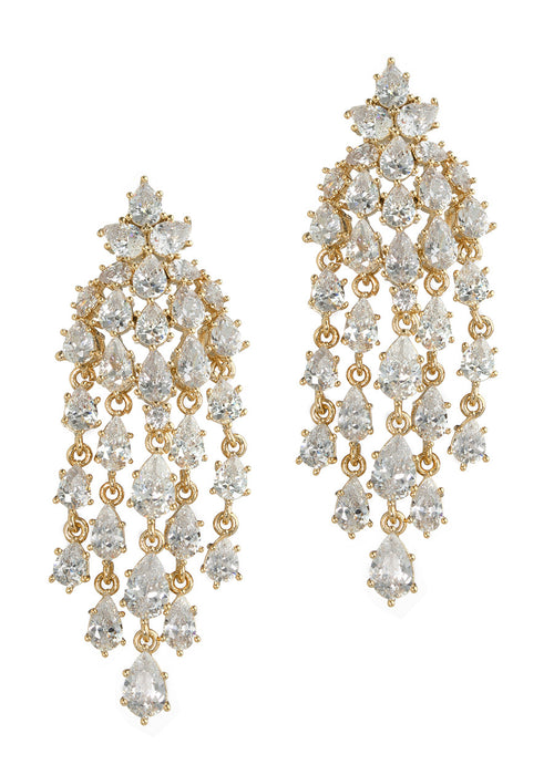 Cascading chandelier earrings with hand set high quality tear drop and round cut CZ, Gold finish