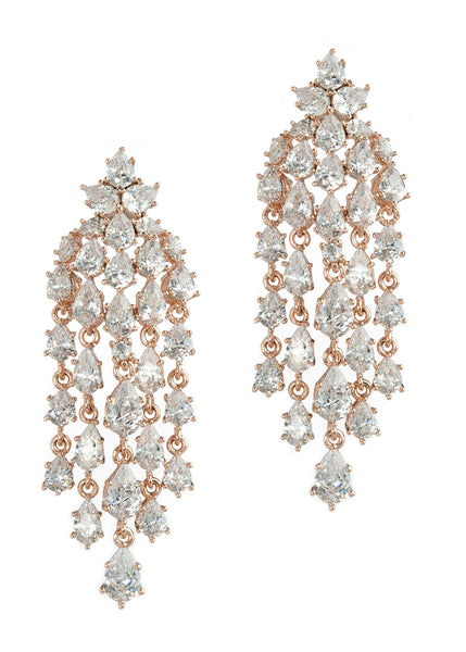 Cascading chandelier earrings with hand set high quality tear drop and round cut CZ, Rose Gold finish