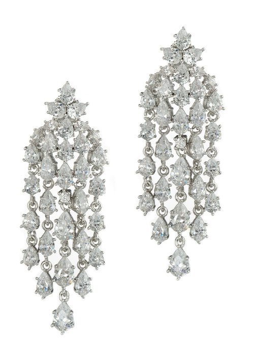 Cascading chandelier earrings with hand set high quality tear drop and round cut CZ, White Gold finish