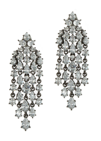 Cascading chandelier earrings with hand set high quality tear drop and round cut CZ, Gun metal finish