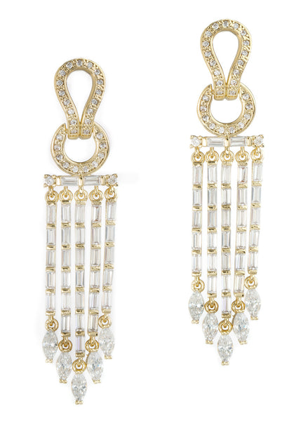 Athena drop earrings in hand set high quality CZ, baguette and marquis cut accent, Gold finish