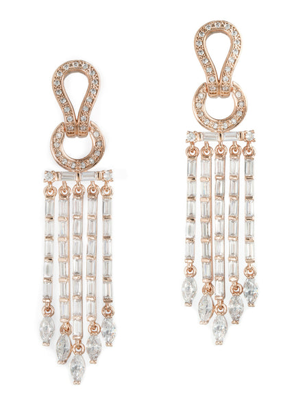 Athena drop earrings in hand set high quality CZ, baguette and marquis cut accent, Rose Gold finish