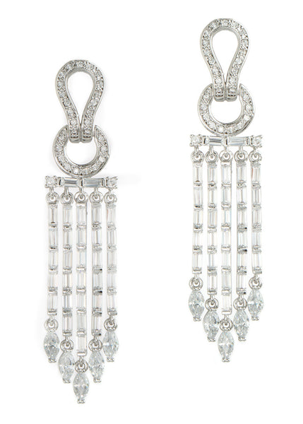 Athena drop earrings in hand set high quality CZ, baguette and marquis cut accent, White Gold finish