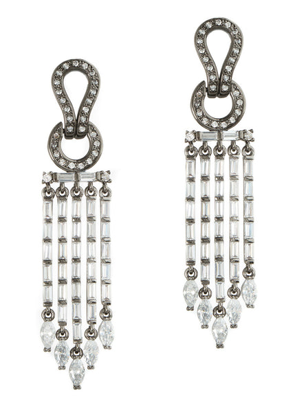 Athena drop earrings in hand set high quality CZ, baguette and marquis cut accent, Gun metal finish