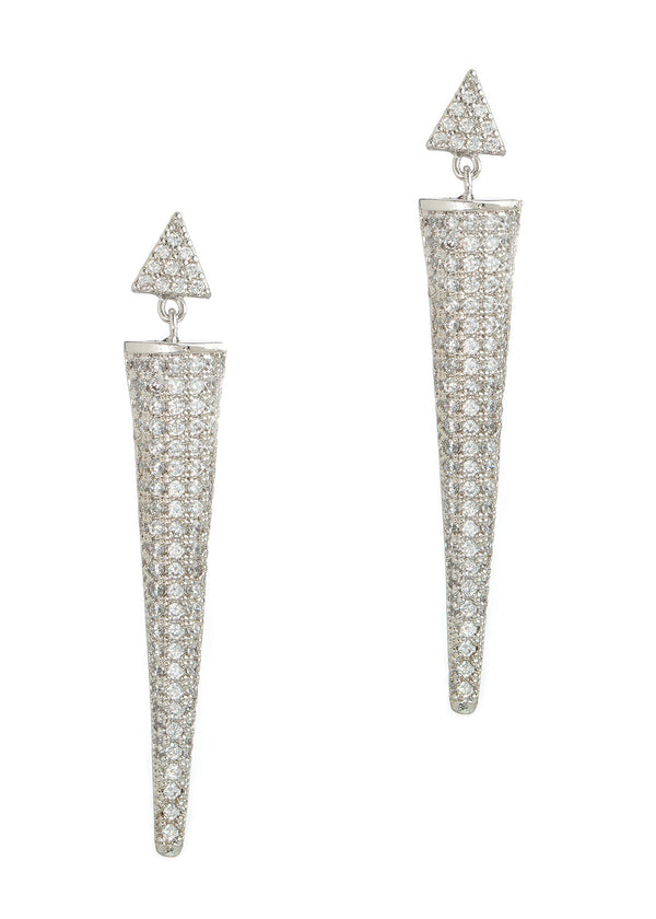 Titanese drop earrings with hand set micro pave high quality CZ, White Gold finish