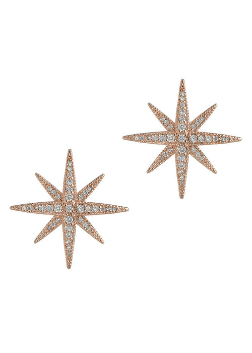 The Northern Star stud earrings with hand set micro pave high quality CZ, Rose Gold finish