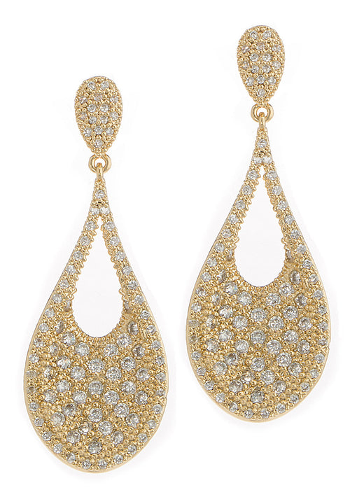 Ersa (Greek Goddess of Dew) Tear drop chandelier earrings with hand set micro pave high quality CZ, Gold finish