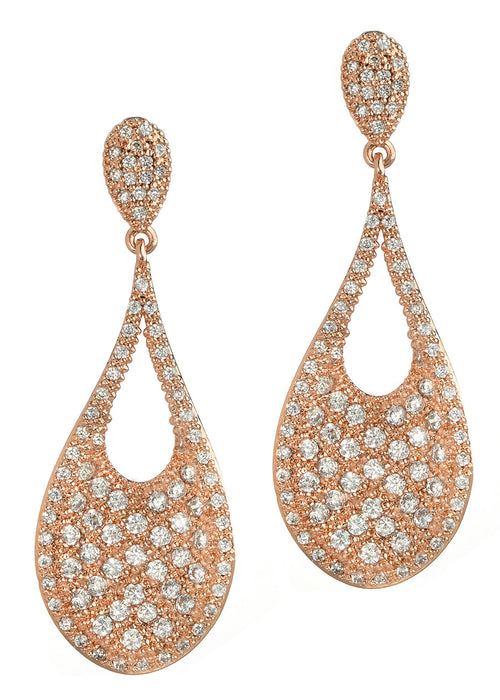 Ersa (Greek Goddess of Dew) Tear drop chandelier earrings with hand set micro pave high quality CZ, Rose Gold finish
