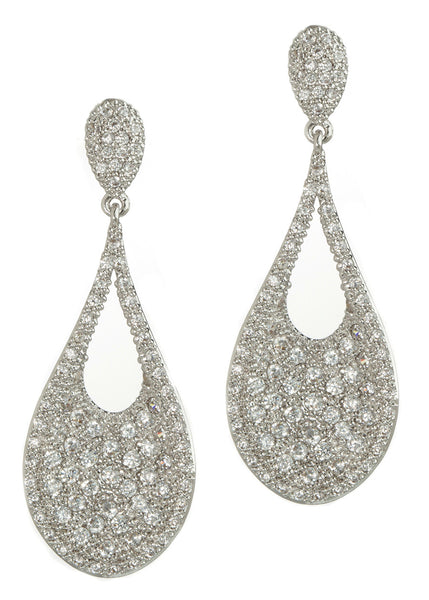 Ersa (Greek Goddess of Dew) Tear drop chandelier earrings with hand set micro pave high quality CZ, White Gold finish