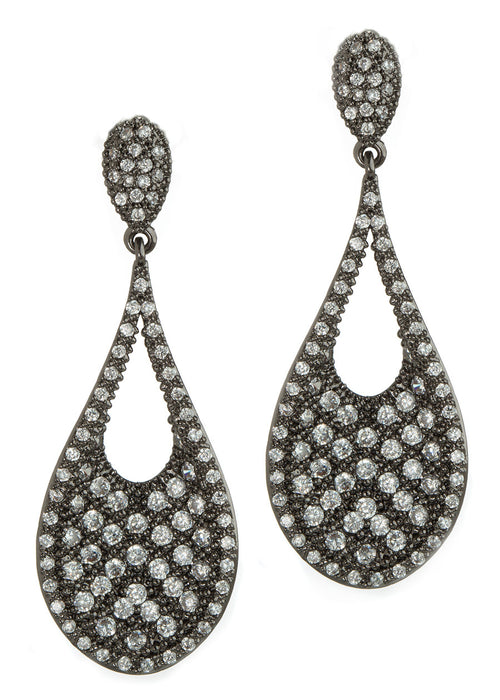 Ersa (Greek Goddess of Dew) Tear drop chandelier earrings with hand set micro pave high quality CZ, Gun metal finish