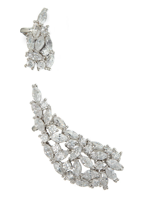 Angel wing ear crawler with hand set high quality CZ, Two pieces, worn together or separate, White gold finish