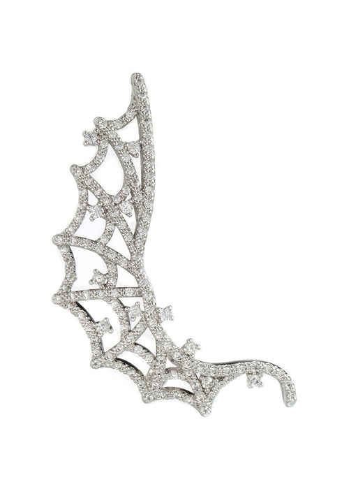 The web of life ear crawler with hand set high quality CZ, White gold finish