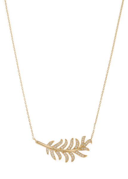 Laurel leaf short necklace with hand set micropave high quality CZ, Gold finish