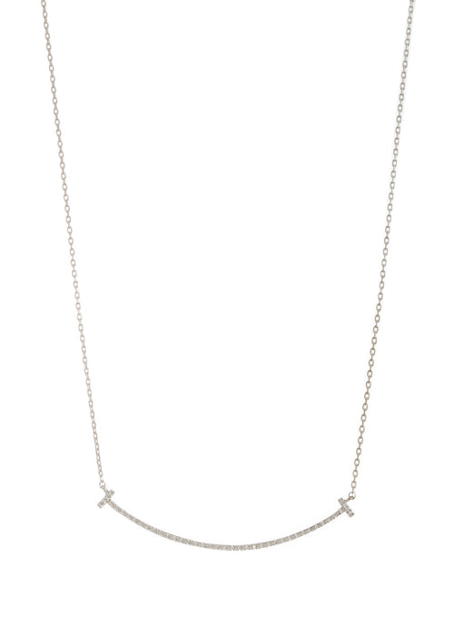 Rounded bar short necklace with high quality micro pave set CZ, White Gold finish