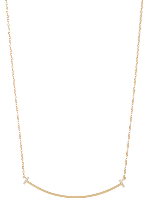 Rounded polished bar short necklace, Gold finish